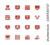 wide icon set. collection of 16 ... | Shutterstock .eps vector #1305530737
