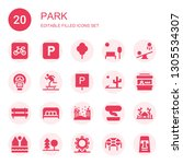 park icon set. collection of 20 ... | Shutterstock .eps vector #1305534307