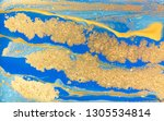 blue and gold marbling pattern. ... | Shutterstock . vector #1305534814
