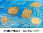 blue and gold marbling pattern. ... | Shutterstock . vector #1305534844