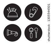 4 linear vector icon set   pin... | Shutterstock .eps vector #1305544501