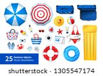 top view vector summertime... | Shutterstock .eps vector #1305547174