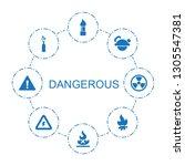 8 dangerous icons. trendy...   Shutterstock .eps vector #1305547381