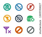forbidden icons. trendy 9... | Shutterstock .eps vector #1305550027