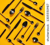 set of black steel cutlery on... | Shutterstock . vector #1305550987