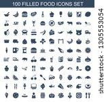 100 food icons. trendy food... | Shutterstock .eps vector #1305553054