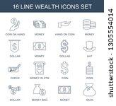 16 wealth icons. trendy wealth... | Shutterstock .eps vector #1305554014