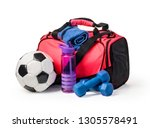sports bag with sports... | Shutterstock . vector #1305578491