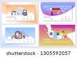 online shopping payment...   Shutterstock .eps vector #1305592057