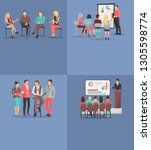 set of business meeting... | Shutterstock . vector #1305598774