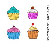 cup cake collection | Shutterstock .eps vector #130560251