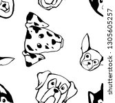 seamless pattern with dog... | Shutterstock .eps vector #1305605257