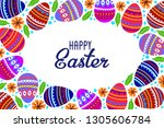 happy easter. cartoon cute eggs ... | Shutterstock .eps vector #1305606784