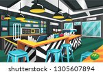 coffee shop modern style with... | Shutterstock .eps vector #1305607894