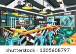 dirty coffee shop modern style... | Shutterstock .eps vector #1305608797