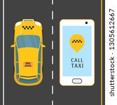 mobile phone with taxi service... | Shutterstock .eps vector #1305612667