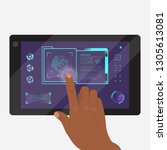 tablet with futuristic game or... | Shutterstock .eps vector #1305613081
