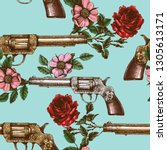 retro guns and roses texture.... | Shutterstock .eps vector #1305613171
