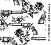 retro guns and roses texture.... | Shutterstock .eps vector #1305620221