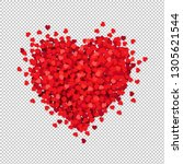 red heart isolated transparent... | Shutterstock .eps vector #1305621544