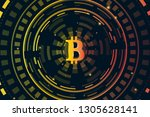 bitcoin digital currency.... | Shutterstock . vector #1305628141