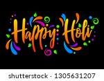 happy holi vector isolated... | Shutterstock .eps vector #1305631207