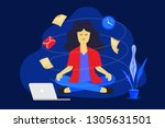 meditation man at work.... | Shutterstock .eps vector #1305631501