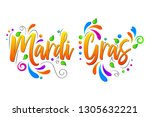 mardi gras vector isolated... | Shutterstock .eps vector #1305632221