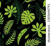 trendy summer tropical leaves... | Shutterstock .eps vector #1305644791