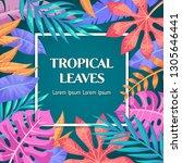 trendy summer tropical leaves... | Shutterstock .eps vector #1305646441
