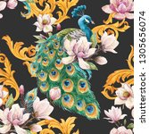 watercolor luxury pattern with... | Shutterstock . vector #1305656074
