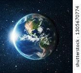 earth globe over star space... | Shutterstock . vector #1305670774