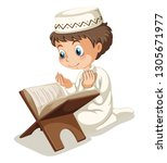 muslim boy vector  | Shutterstock .eps vector #1305671977