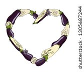 heart frame made of eggplants   ... | Shutterstock .eps vector #1305687244