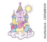 beautiful little unicorn with...   Shutterstock .eps vector #1305688144
