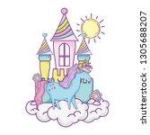 beautiful little unicorn with...   Shutterstock .eps vector #1305688207