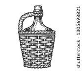 wine bottle carboy with basket... | Shutterstock .eps vector #1305698821