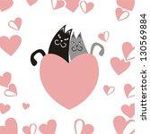 cats heart vector illustration | Shutterstock .eps vector #130569884