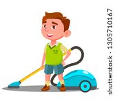 little boy with vacuum cleaner... | Shutterstock . vector #1305710167
