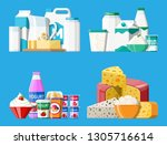 dairy products set. collection... | Shutterstock .eps vector #1305716614