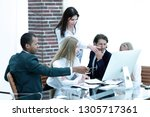 head of business project holds... | Shutterstock . vector #1305717361