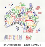 map of the australia and travel ... | Shutterstock .eps vector #1305729577