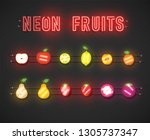 realistic neon fruit set with... | Shutterstock .eps vector #1305737347