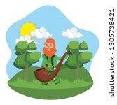 leprechaun male holding pipe... | Shutterstock .eps vector #1305738421
