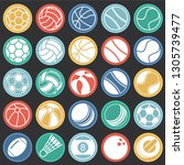 sport ball icons set on color... | Shutterstock .eps vector #1305739477