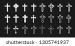 cross icons set. decorated... | Shutterstock .eps vector #1305741937