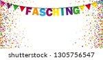 german text fasching  translate ... | Shutterstock .eps vector #1305756547