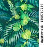 watercolor background with... | Shutterstock . vector #1305757354