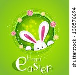 Vector Easter Bunny Peeking Ou...