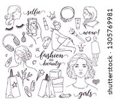 girls beauty  fashion and... | Shutterstock .eps vector #1305769981